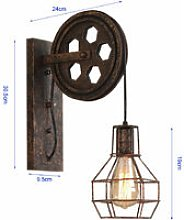 Axhup - Creative Wall Lamp Pulley Wall Light Retro