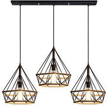 Axhup - Hemp Rope Hanging Lamp Diamond Cage