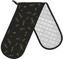 Axige888 Gold Dragonfly Black Double Oven Mitt,