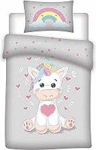 Aymax Cute unicorn toddler bedding set, reversible