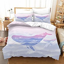 AYMAYM 3D Purple Animal Whale Printed Double Duvet