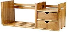 AYNEFY Adjustable Bamboo Desk Bookcase, Desk