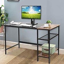 AYNEFY Computer Desk, Black Oak Computer Table