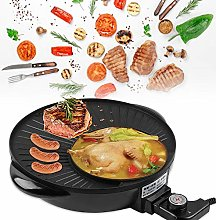 AYNEFY Portable Electric Grill, 2 in 1 Non-stick
