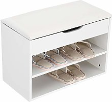 AYNEFY Shoe Rack Storage Bench, Wooden Shoes