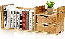 AYNEFY Tabletop Bookcase, Bamboo Wood Extendable