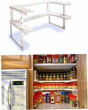 AYRSJCL 2 Layers Adjustable Shelf Kitchen Spice