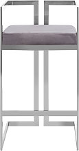 Azaltro Velvet Bar Stool In Grey With Silver
