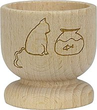 Azeeda 'Cat & Fish' Wooden Egg Cup