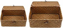 B Blesiya 2 Pack of Retro Seagrass Woven Wicker