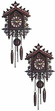 B Blesiya 2Pcs Wooden Cockoo Wall Clock Quartz