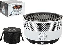 B&Co Alfresco Smokeless Charcoal Grill - White