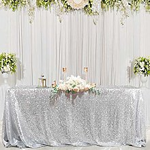 B-COOL 60X102 Inch Rectangle Silver Sequin