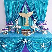 B-COOL Rectangle Sequin Tablecloth Aqua Blue for