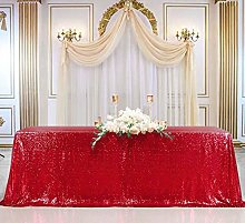 B-COOL Red Sequin Tablecloth 90x132-Inch Seamless