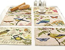 B-HOT Printed Cotton Linen Rectangle Placemats