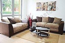 B U The sofa expert Brown and Mocha Fabric Jumbo