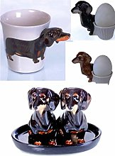 B2see LTD Dachshund Dog Gift Mug Egg Cup Salt and