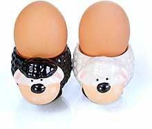 B2SEE LTD Egg Cup Set Sheep Design Black and White