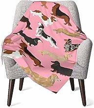 Baby Blanket Flannel Fleece Soft & Warm Doxie Dog