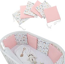 Baby Cot Bumper Set, 100 Cotton Cot Liner 4 Sided,