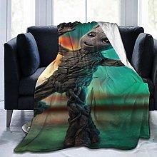 Baby Groot Throw Fleece Blanket Sofa Couch Bed Non