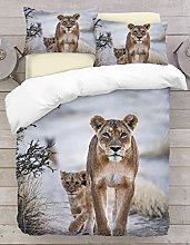 Baby Lion 3D Design Digital Print Duvet Cover By