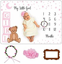 Baby Monthly Milestone Blanket Girl - Premium Soft