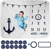 Baby Monthly Milestone Blanket with 12 Stickers,