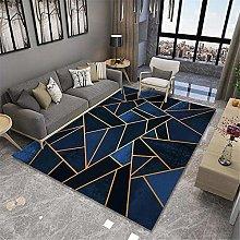 baby rug Bedroom Blue Carpet with Golden Lines