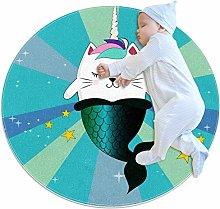 Baby Rug Blue Mermaid Unicorn Round Tent Rug Super