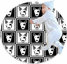 Baby Rug Bull Terrier Dog Round Tent Rug Super