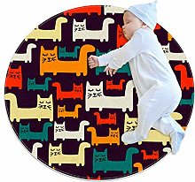 Baby Rug Colorful Cats Round Tent Rug Super Soft