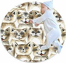 Baby Rug Cute Brown Retro Cat Round Tent Rug Super