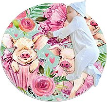 Baby Rug Cute Pink Pig Round Tent Rug Super Soft