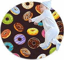Baby Rug Donut Chocolate Round Tent Rug Super Soft