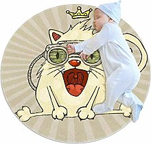Baby Rug Funny Cats Round Tent Rug Super Soft