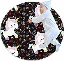 Baby Rug Galaxy Unicorn Astronaur Round Tent Rug