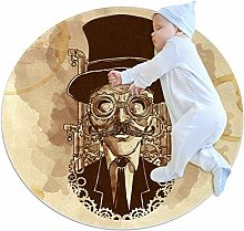 Baby Rug Hand Painted Steampunk Man Round Tent Rug