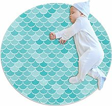 Baby Rug Mermaid Scale Blue Round Tent Rug Super
