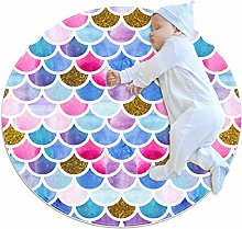 Baby Rug Mermaid Scale Round Tent Rug Super Soft