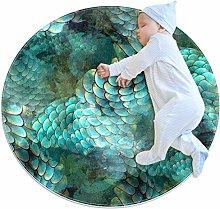 Baby Rug Mermaid Scales Retro Round Tent Rug Super