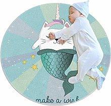 Baby Rug Mermaid Unicorn Cat Round Tent Rug Super