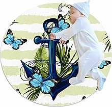 Baby Rug Nautical Butterfly Round Tent Rug Super