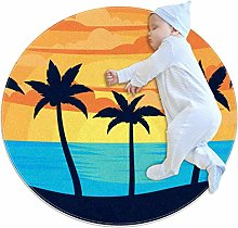 Baby Rug Palm Round Tent Rug Super Soft Nursery
