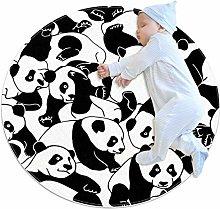 Baby Rug Panda Black White Round Tent Rug Super