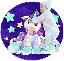 Baby Rug Purple Unicorn Round Tent Rug Super Soft