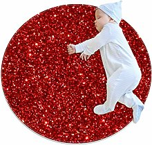 Baby Rug Red Glitter Sequins Round Tent Rug Super