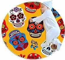 Baby Rug Skull Yellow Bone Round Tent Rug Super