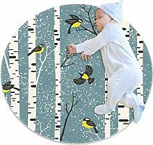 Baby Rug Snowy Birds Round Tent Rug Super Soft